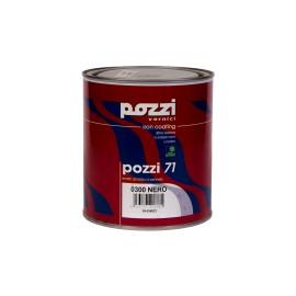 Smalto lucido all'acqua 0,75 lt nero per metallo, legno ed intonaco Pozzi 71