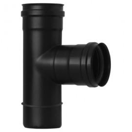 Raccordo a T nero in ghisa Ø 80 mm MF per stufa a pellet