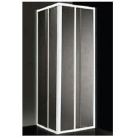 Box doccia ad angolo 79/90 cm acrilico con profilo bianco Giava Smeralda S02MBI
