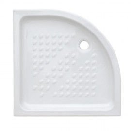 Piatto doccia semicircolare 80 x 80 cm H 10 cm porcellana antiscivolo bianco