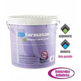Idropittura murale lavabile antibatterica e antimicrobica Farmasan bianco Pozzi Colours