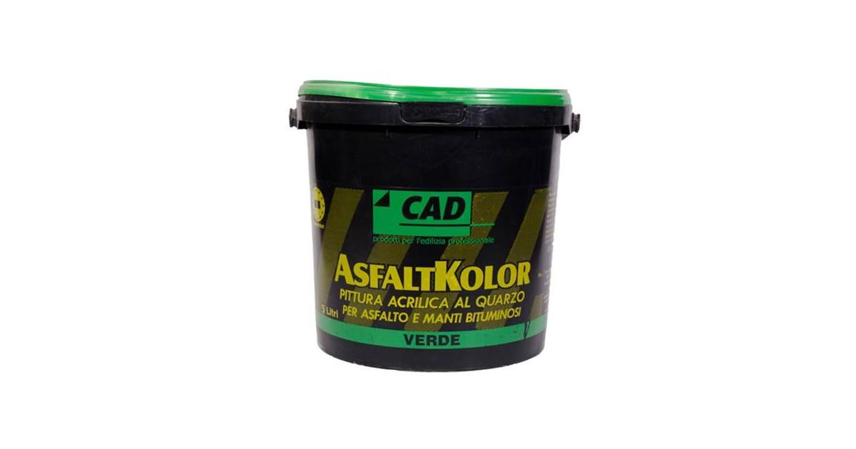 Pittura verde 5 lt per asfalto e manti bituminosi Cad AsfaltKolor