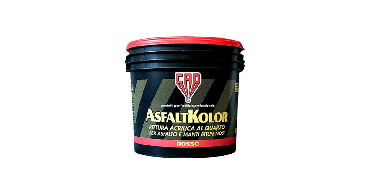 Pittura rossa 5 lt per asfalto e manti bituminosi Cad AsfaltKolor