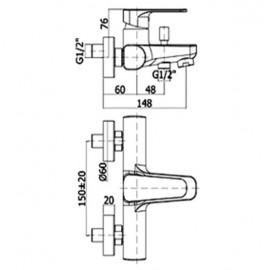 Miscelatore vasca doccia duplex con supporto a muro snodato e doccia Trieste bis Paffoni serie Sly SY 023 CR