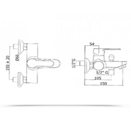 Miscelatore vasca doccia duplex Paffoni serie Blu BLU 023 CR