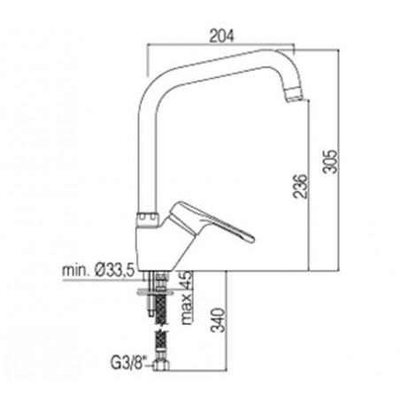 Miscelatore lavello canna tubo Paffoni serie Nettuno NT 180 CR