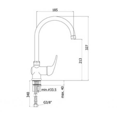 Miscelatore lavello canna tubo Paffoni serie Apollo APM 180 CR