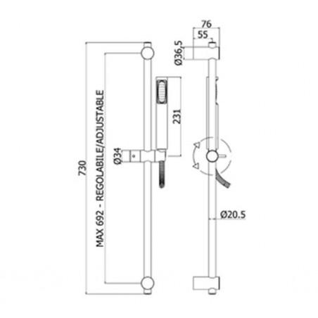 Saliscendi completo Paffoni Stick New ZSAL150CRC/P cromato