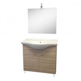 Mobile bagno 85 cm con lavabo e specchio olmo - Francesca 92808