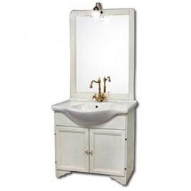 Mobile bagno 85 cm con lavabo e specchio bianco - Duchessa 8693