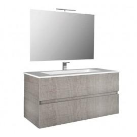 Mobile bagno sospeso 80 cm con specchio e lavabo rovere corda - Splash 93221