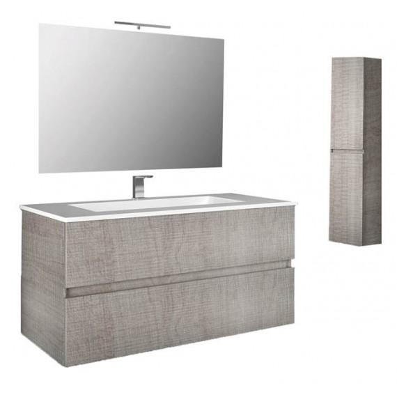 Mobile bagno sospeso 80 cm con specchio, lavabo e colonna rovere corda -  Splash 93221