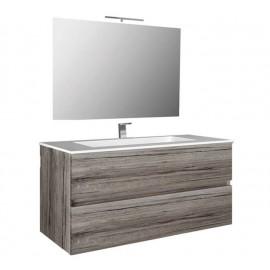 Mobile bagno sospeso 80 cm con specchio e lavabo rovere grigio - Splash 93220