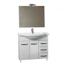 Mobile bagno 85 cm con lavabo e specchio bianco portuna - Claudia 93826
