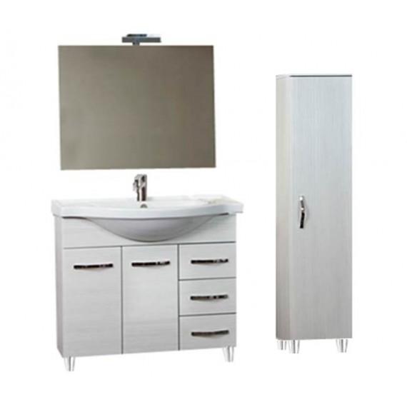 Mobile bagno 85 cm con lavabo, specchio e colonna bianco portuna - Claudia  93826