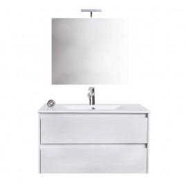 Mobile bagno sospeso 90 cm con lavabo e specchio bianco portuna - Federica 93827