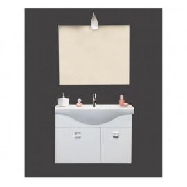 Mobile bagno sospeso 85 cm con lavabo e specchio bianco lucido - Brillo 95018