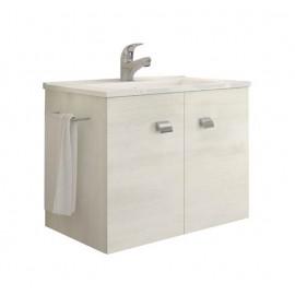 Mobile bagno sospeso 60 cm con lavabo e portasalviette rovere bianco - Erika 99029