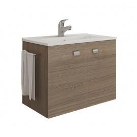 Mobile bagno sospeso 60 cm con lavabo e portasalviette rovere fumo - Erika 99030