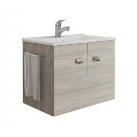 Mobile bagno sospeso 60 cm con lavabo e portasalviette rovere grigio - Erika 99032