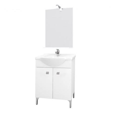 Mobile bagno 60 cm con lavabo e specchio bianco - Desy 7536