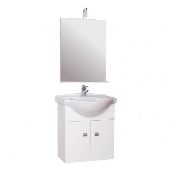 Mobile bagno sospeso 60 cm con lavabo e specchio laccato bianco - Emma 83162