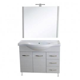 Mobile bagno 105 cm con lavabo e specchio bianco portuna - Antonella 16969