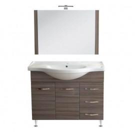 Mobile bagno 105 cm con lavabo e specchio palissandro - Antonella 16970