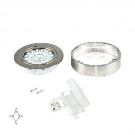 Faretto LED Ø 65 mm luce bianca naturale con supporto in plastica e nichel satinato
