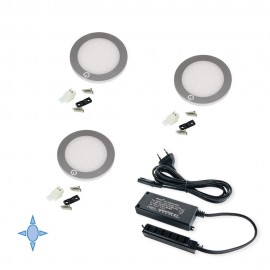 Set 3 luci LED Ø 68 mm luce bianca fredda in alluminio e plastica  grigio metallizzato