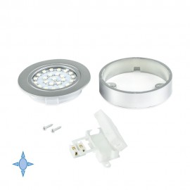 Faretto LED Ø 65 mm luce bianca fredda con supporto in plastica grigio metallizzato