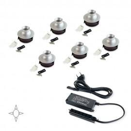 Set 6 luci LED Ø 33 mm orientabili in alluminio opaco con convertitore 15 W e luce bianca naturale