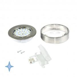 Faretto LED Ø 65 mm luce bianca fredda con supporto in nichel satinato