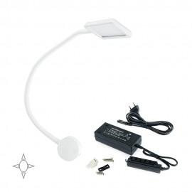 Applique LED quadrato bianco con braccio flessibile