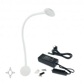 Applique LED rotondo bianco con braccio flessibile