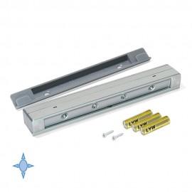 Luce LED a batterie per cassetti con sensore di vibrazione e luce bianca fredda in plastica grigio metallizzato