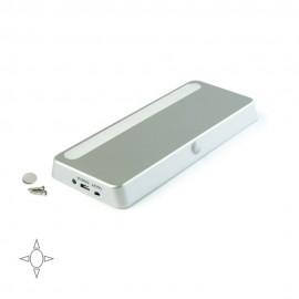 Luce LED ricaricabile con sensore di movimento e luce bianca naturale in plastica grigio metallizzato