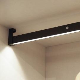 Barra appendiabiti regolabile 708-858 mm per armadi con luce bianca LED, batteria e sensore di movimento colore moka