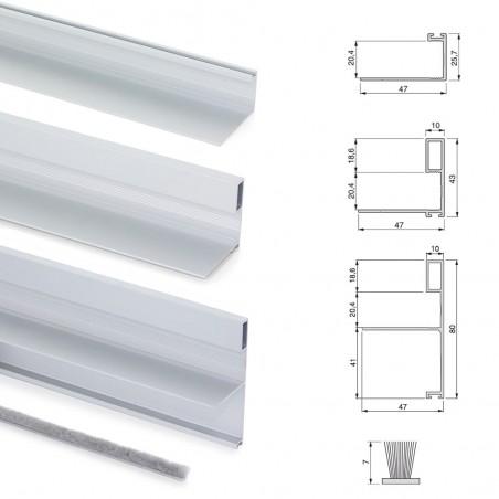 Sistema scorrevole per armadio 2 ante di spessore 19-20 mm, con chiusura soft e profili in alluminio