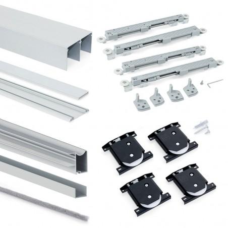 Sistema a scorrimento inferiore per armadio 2 ante di spessore 16 mm, con chiusura soft e profili in alluminio