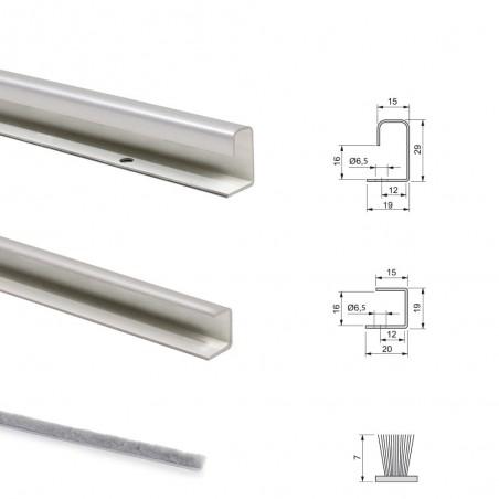 Sistema scorrevole per armadio 2 ante di spessore 16 mm, antideragliamento e con profili in alluminio cromato