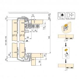 Sistema scorrevole per armadio 2 ante di spessore 16 mm, antideragliamento e con profili in alluminio opaco