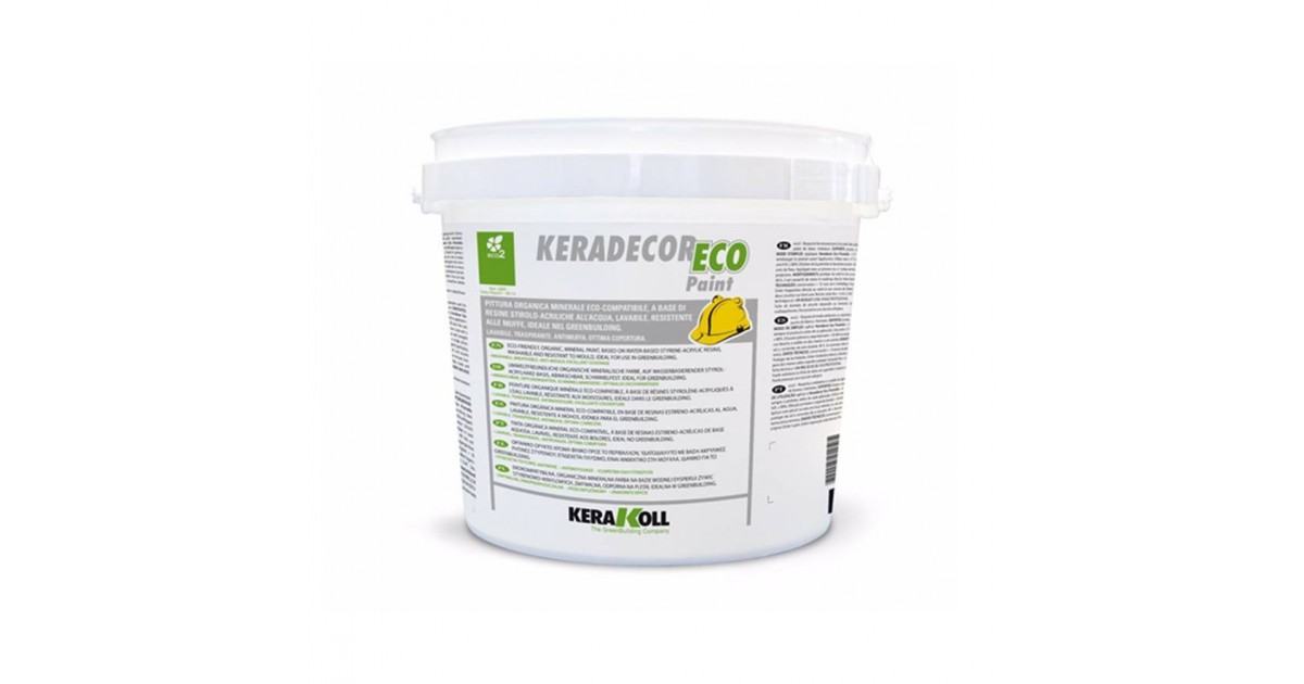 Pittura a base di resine stirolo-acriliche Kerakoll Keradecor Eco Paint 4 lt 23005 bianco