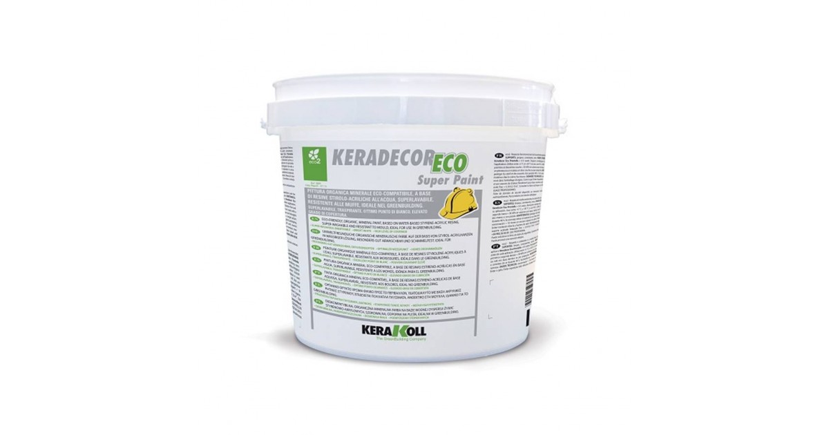 Pittura a base di resine stirolo-acriliche Kerakoll Keradecor Eco Super Paint 4 lt 23187 bianco