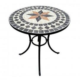 Tavolo Da Giardino In Mosaico Di Pietra Rotondo 60 cm Capri Domus