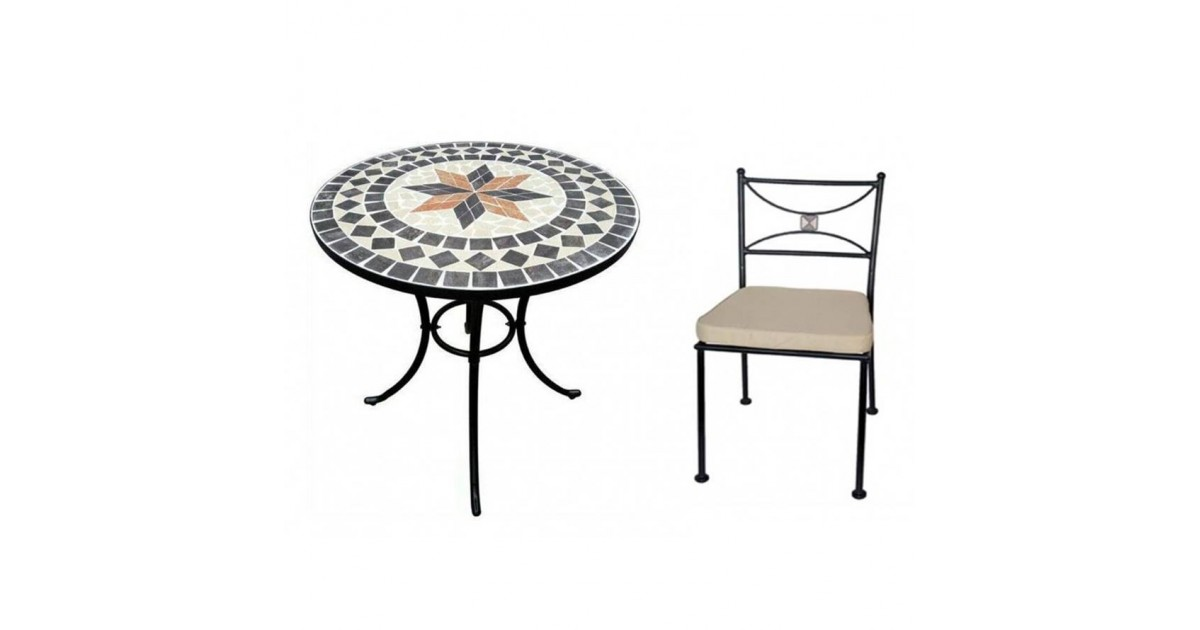 Set tavolo rotondo 60 cm in mosaico di pietra Capri Domus + 4 sedie Praiano Domus