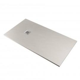 Piatto doccia FLAT 80x100 cm grigio chiaro effetto pietra in mineralmarmo con griglia e piletta sifonata Jonathan