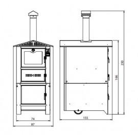 Dimensioni Forno a legna Da Esterno In Acciaio Alluminato 74x106xH230 Cm Bordeaux Easy Sunday
