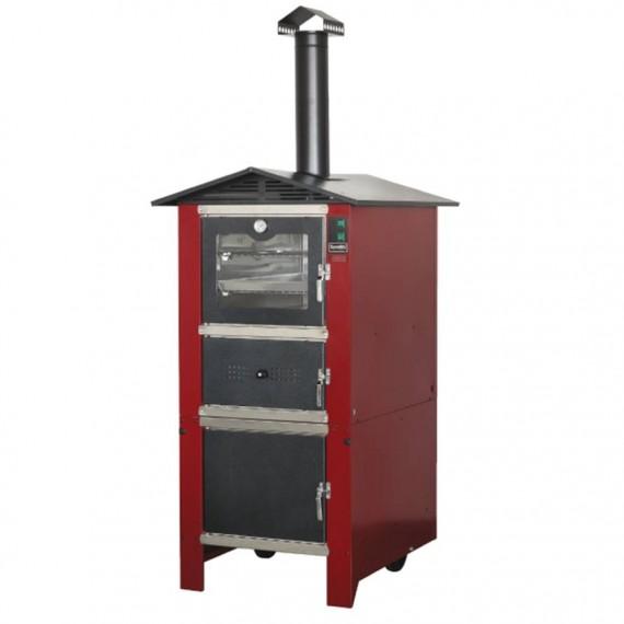 Forno a legna Da Esterno In Acciaio Alluminato 74x106xH230 Cm Bordeaux Easy Sunday