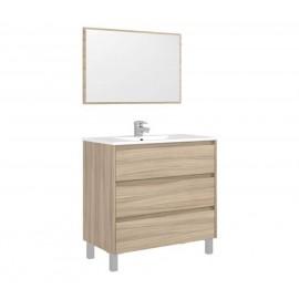 Mobile bagno 80 cm con lavabo e specchio natur - Dakota 99568